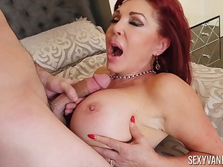 Busty mature redhead nympho Sexy Vanessa wants cum on the brush pompously tits