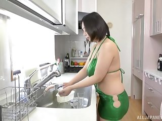 Busty Japanese MILF babe Tsukada Shiori fucked hard in make an issue of kitchen