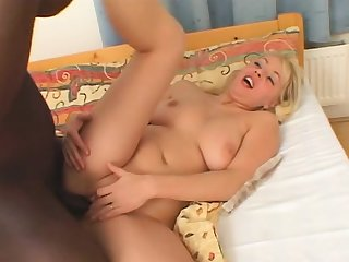 Blonde slut with a big cock and toys