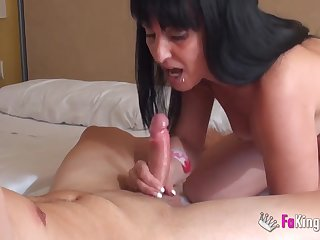 A younger bushwa for long haired brunette mature milf in heels