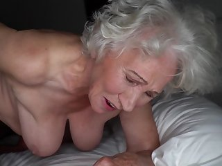Grey-haired cunt of fat granny gets pounded away from young stud